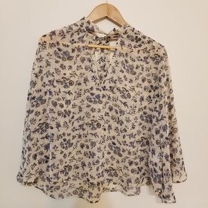 Lucky Brand Cream Bell Sleeve Tie Neck Blouse